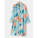 女性花柄ラペル長袖ボタンカジュアルホームパジャマポケット付きナイトガウン