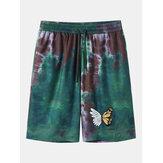 Pantaloncini da uomo elasticizzati con stampa a farfalla in tinta unita
