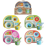 5 Style Bamboo Fiber Colorful Kids Meal Set Feeding Tools Plate Cup Spoon Fork Kid Bowl