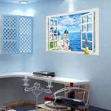 Miico Creative Fake Window Seaside Scene Removable Background Decorative Wall Decor Sticker