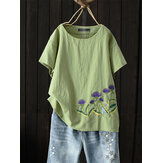 Women Casual O-Neck Floral Embroidered Short Sleeve T-Shirts