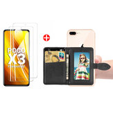 Bakeey 2PCS για POCO X3 PRO / POCO X3 NFC Tempered Glass Screen Protector + 1PC Magnetic Flip PU Leather Credit Card Holder with 3M Adhesive sticker