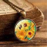 Colar vintage geométrico redondo de vidro de girassol Pingente colar de metal impresso com gema de girassol corrente de suéter