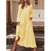Women Solid Color V-neck Button Pleated Long Sleeve Vintage Maxi Dress