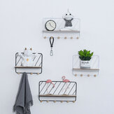 Wall Mounted Wire Metal Shelf Unit Floating Shelves Wood Rack Display