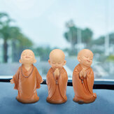 16.5cm Resin Buddhas Statue Monk Sculpture Car Home Garden Decor Ornament Brown