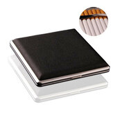 Black Pocket Leather Metal Tobacco 20 Smoke Holder Almacenamiento Caso Cigarette Case Tarjetas de almacenamiento Caso
