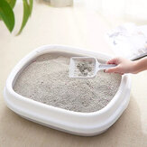 Zeze Semi-Closed Litter Box Detachable Large Space Anti-Overflow Container for Pet House Cleaning Tool From