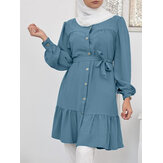 Women Stand Collar Lace Up Ruffle Casual Long Sleeve Midi Dresses