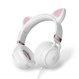 FINGERTIME EP28 Cat Ear Cute Headphones Wired Gaming Headset 3.5mm AUX Foldable With Mic Adapter Cable For Gaming