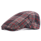 Men Plaid Cotton Adjustable Sport Beret Caps