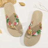 Damen Clip Toe Blumenmassage Sohlen Beach Flats Sandalen
