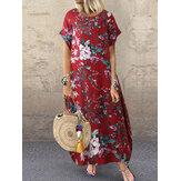 Γυναικείο 100% βαμβάκι O-Neck Floral Print Φόρεμα αναψυχής με τσέπες πλάι