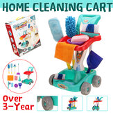 12PCS Plastic Home Cleaning Broom Mopping Carts Mini Tools for Children Toys