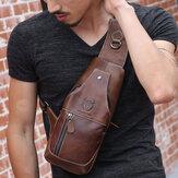 Bullcaptain Men Genuine Leather Wear Resisting Textured Business Casual Brown Black Chest Bag Shoulder Crossbody Bag