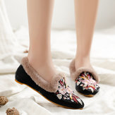 Women Embroidery Flower Flats Loafers