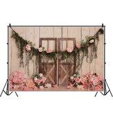 1.5x0.9m 2.1x1.5m 2.7x1.8m Fiore Porta in legno Festa per neonato Fotografia Sfondo Studio Fotografico Sfondo Puntelli