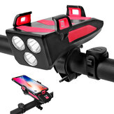 BIKIGHT Multi-function 4 in 1 Bicycle Light USB Rechargeable LED Bike Headlight + Horn + Phone Holder + Power Bank Outdoor Cycling Lamp