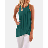 Solid Color Pleated Adjustable Straps Spaghetti Sleeveless Tank Tops