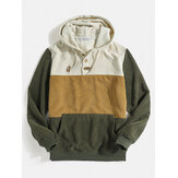 Mens Corduroy Color Block Half Button Kangaroo Pocket Casual Drawstring Hoodies