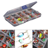 ZANLURE 30pcs / lot Colorful Tront Spoon Metal Fishing Lure Spinner Bait Bass Tackle With Box