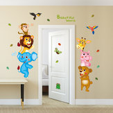 Creative Animal World Wall Stickers Corridor Kindergarten Children's Room Background Decorative Painting Removable Wall Stickers
