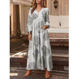 100% Cotton Women Floral Print V-Neck Side Pocket Button Long Sleeve Pleated Maxi Dresses