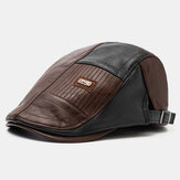 Collrown Men PU Leather Patchwork Color Casual Vintage Adjustable Forward Hat Beret Hat