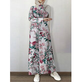 Women 100% Cotton Vintage Floral Print O-Neck Abaya Kaftan Long Sleeve Maxi Dress With Pocket