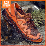Men Hand Stitching Breathable Mesh Soft Sole Casual Shoes