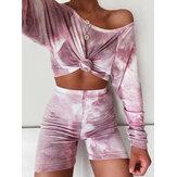 Women Fashion Tie Dye Print Home Sports Casual Two-Piece Set
