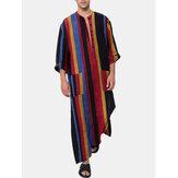 Algodón para hombre Colorful Batas de manga larga con estampado de rayas holgadas para el hogar