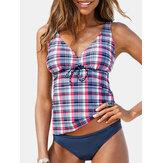 Женский галстук в клетку с завязками, чехол для живота Tankinis Hawaii Пляжный Купальный костюм