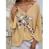 Women Giraffe Print V-neck Long Sleeve Casual Loose Blouse
