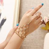 JASSY® 18K chapado en oro Colorful pulsera de diamantes de imitación de la palma