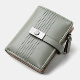 Women 6 Card Slots Bifold Solid Short Wallet Purse