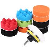 12PCS 3/4/5/6/7 Inch Car Polishing Sponge Pads Kit Polisher Waxing Wollen Buffer Wave Plat Plate Dish Remove Scratches