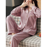 Women Cotton Ribbed Solid Color Revere Collar Long Sleeve Shirts Elastic Waist Home Pajama Set