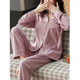 Conjunto de pijama feminino de algodão canelado cor sólida Revere colarinho manga comprida cintura elástica