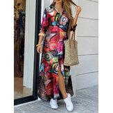 Frauen Vintage Geometrie Druck Revers Langarm Doppeltasche Maxi Shirt Kleider