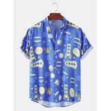 面白い漫画スペースプリント襟襟カジュアルメンズ半袖シャツ