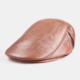 Men Genuine Leather Single Layer Solid Color Casual Fashion Forward Hat Beret Hat