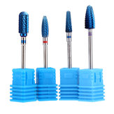 4pcs Blue Tungsten Steel Nail Drill Bits Grinding Head Carbide Burrs for Electric Manicure Machine
