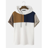 Mens Waffle Knit Color Block Hooded Patchwork Casual T-Shirts