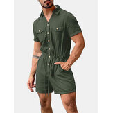 Mens Cotton Solid Color Multi Pocket Casual Short Sleeve Shorts Jumpsuits
