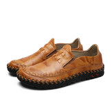 New Men Leather Slip On Outdoor Casual Soft Comfortable Flat Oxfords Shoes