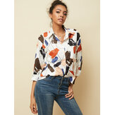 Casual Loose Graffiti Art Print Lapel Button Pocket Blouse For Women