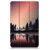 Dobrável em três partes pintado crepúsculo PU dobrável suporte de couro Caso para 8 polegadas Huawei MatePad T8 Tablet