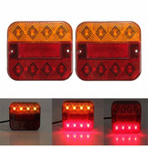 LED Taillight Turn Signal Lights Brake Stop Lamp Red Amber 10-30V 9.3x10.2cm for Truck Trailer