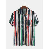 Mens Cotton Colorful Stripe Printed Tie-Dyed Holiday Casual Camisas de manga curta
